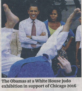 Obama and Michelle watching Judo at White House 2009