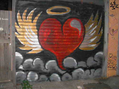 Graffiti street art images to express heart felt love with a lover.
