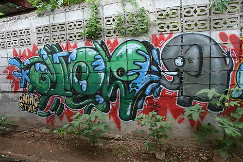 graffiti street art style bubble letters