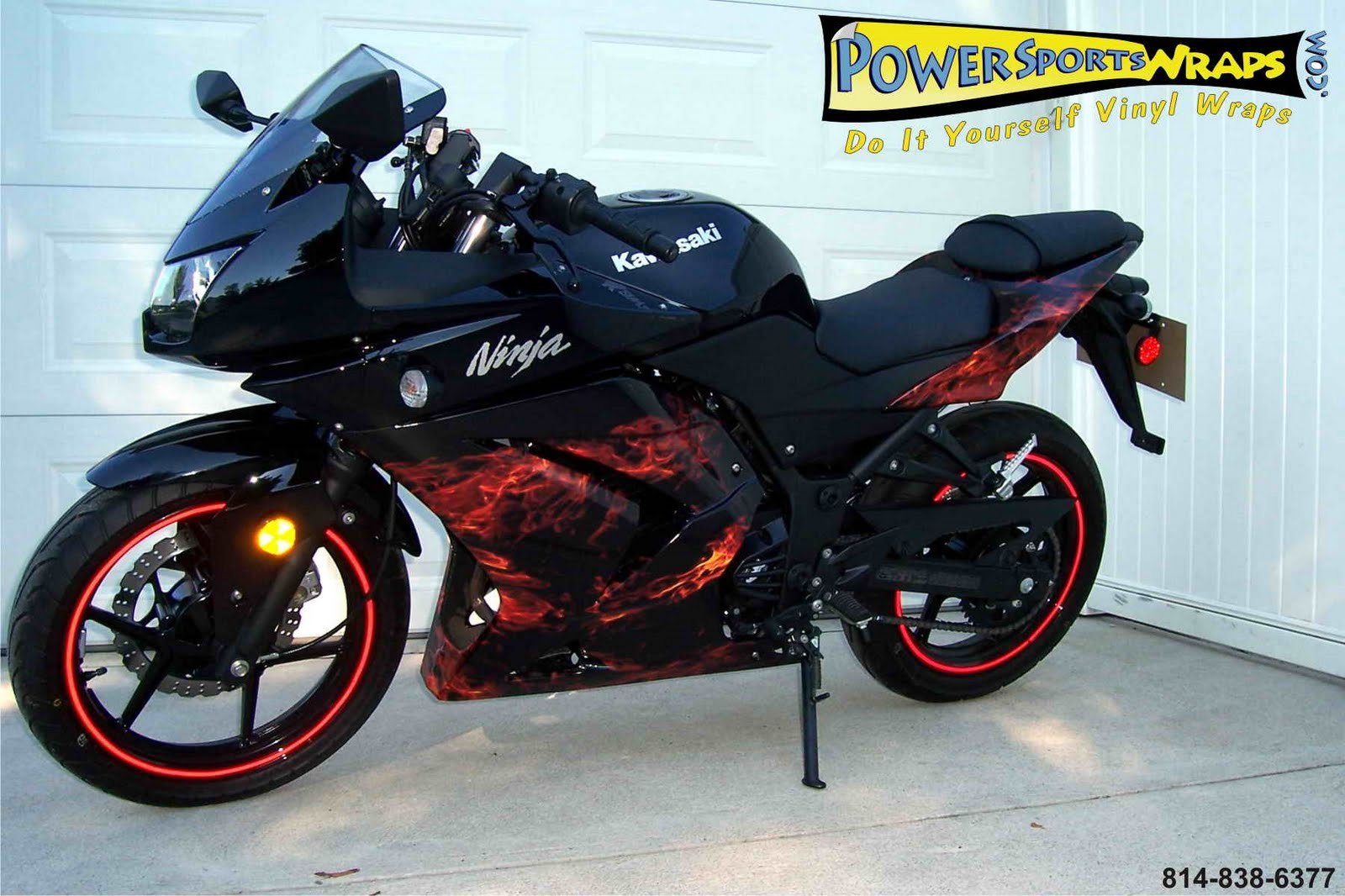 Kawasaki Ninja Custom With Flame Stickers Motorcycle Racing - Kawasaki motorcycles stickers