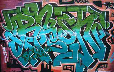 Cool Design Green-Blue Graffiti Alphabet