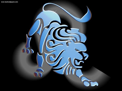 Leo zodiac tribal tattoo like blue light cool
