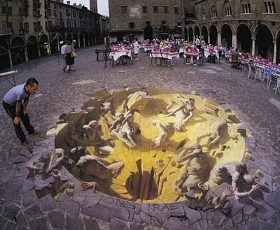 Illusion graffiti art on the floor