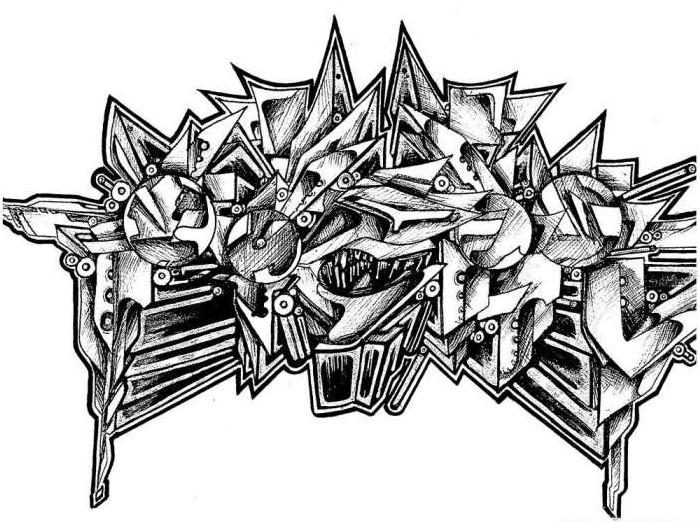 3D Sketches In Black And White Graffiti Alphabet