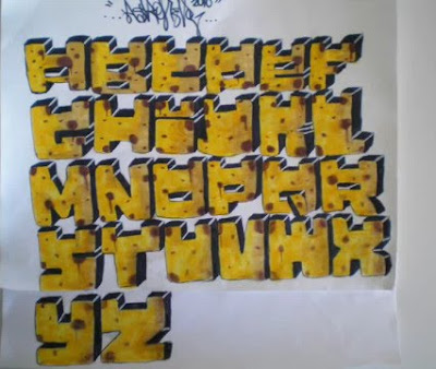 Graffiti Alphabet Letters Yellow Box