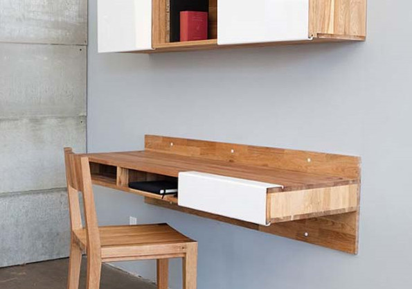 Minimalist Desk Against the Wall by Mash Studios Interior Case