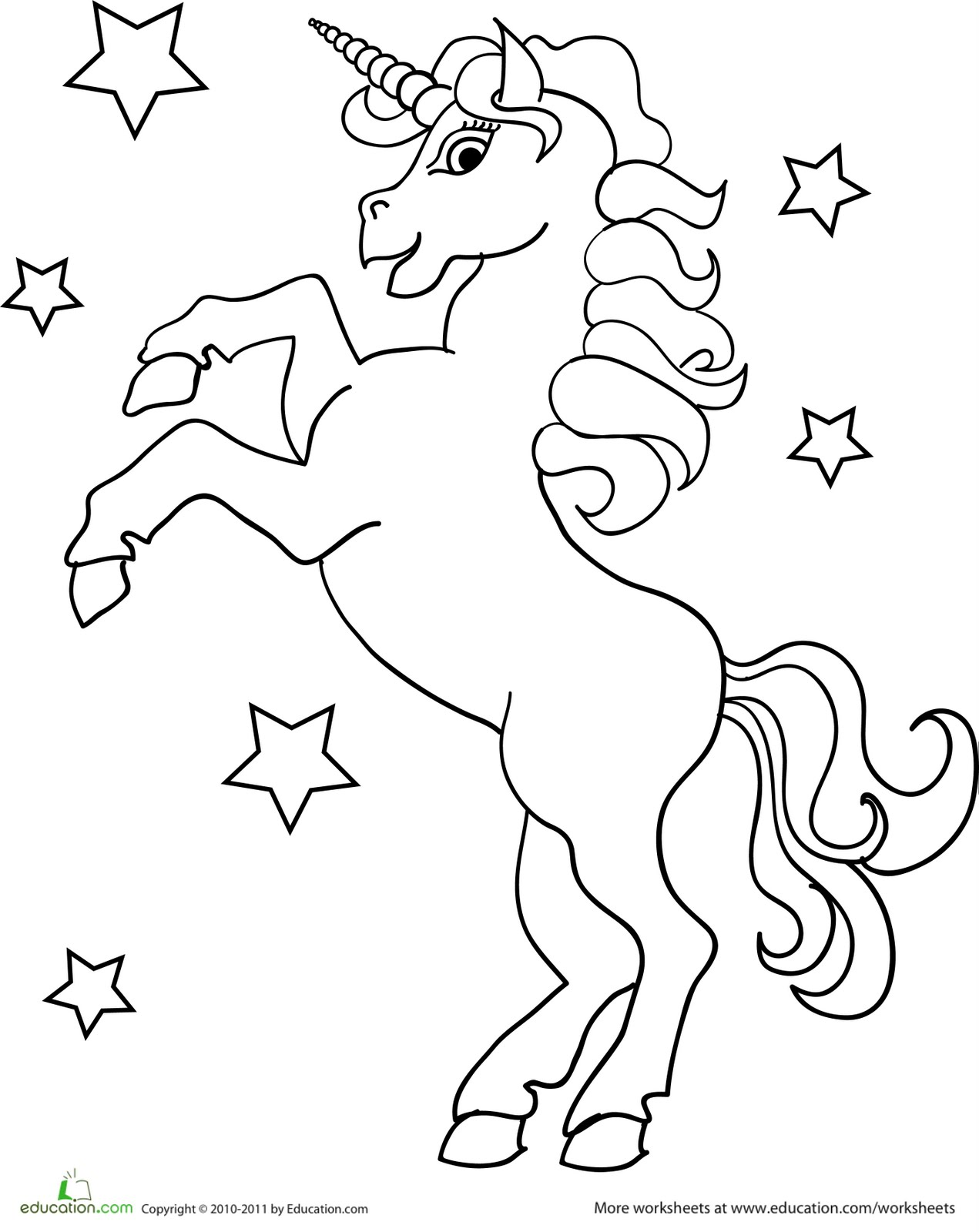 Free unicorn maze coloring pages