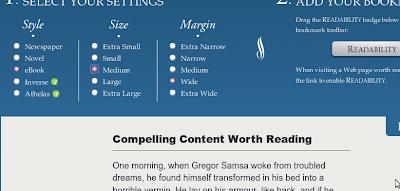 Pagina di Setup di Readability