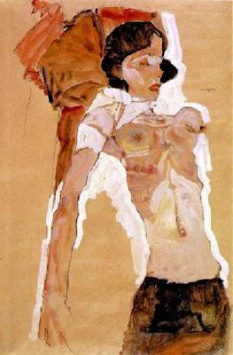 Noia, semi-nua, reclinada (Egon Schiele)