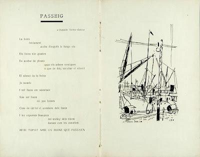 Passeig, dedicat a J.Torres-García (autor del dibuix cal·ligràfic), Poemes en ondes hertzianes (1919)