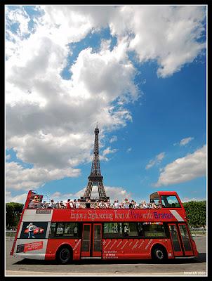Paris, Eiffel Tower, double decker bus