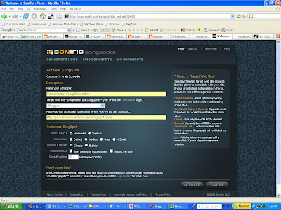 Sonific Songspot configuration page