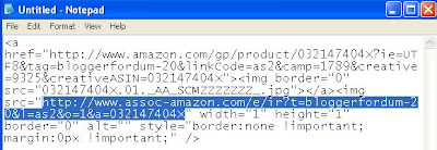Amazon Associate Product Link HTML with URL highlighted