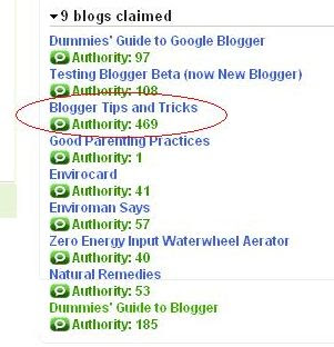 blogs claimed in Technorati and their ranking