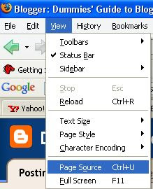 Firefox browser view page source