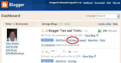 screen shot of Blogger Dashboard