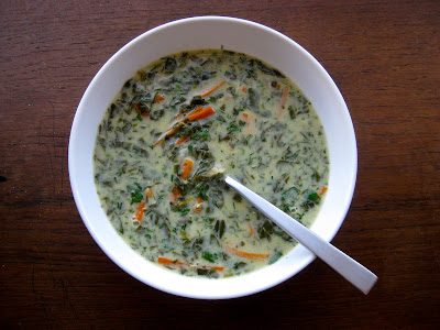 Spinach egg lemon soup