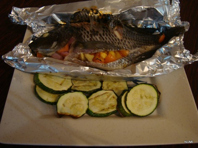 My own chow baked tilapia and zucchini