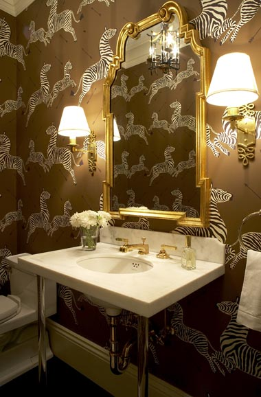 mirror wallpaper. zebra wallpaper room.