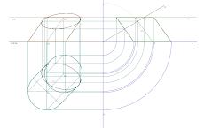 Secção produzida por um plano passante num cilindro oblíquo de bases horizontais