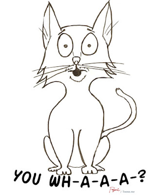 surprised you whaaa cat cartoon design line drawing