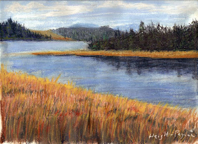 Oregon Paste Painting, Nestucca River and Bay impressionist