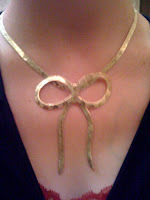 gold bow necklace @ Brittany's Cleverly Titled Blog
