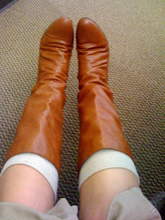 cognac boots @ Brittany's Cleverly Titled Blog