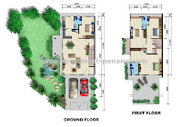 Pearl garden simpang ampat for Double storey semi detached house floor plan