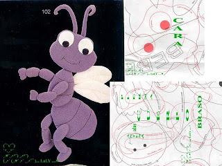 formiga+1 728594 Canguru, dinossauro, esquilo, formiga, jacaré, rena, alce, tudo em feltro para crianças