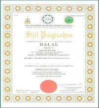 contoh sijil Halal yang di sahkan oleh JAKIM