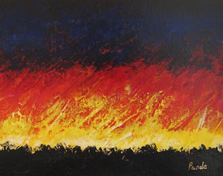 abstract acrylic landscape painting of sunrise by Atul Pande