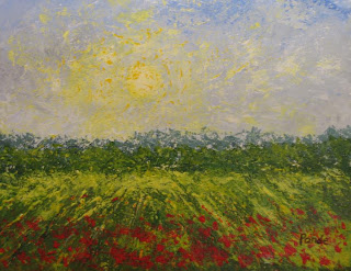 acrylic abstract painting of poppies at high noon by atul pande
