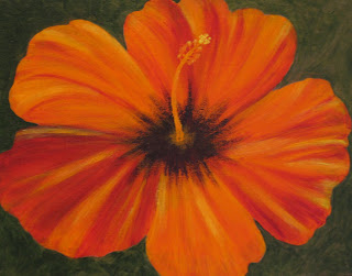 contemporary hibiscus flower painting by atul pande