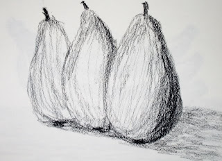 charcoal sketch of three pears by american artist atul pane