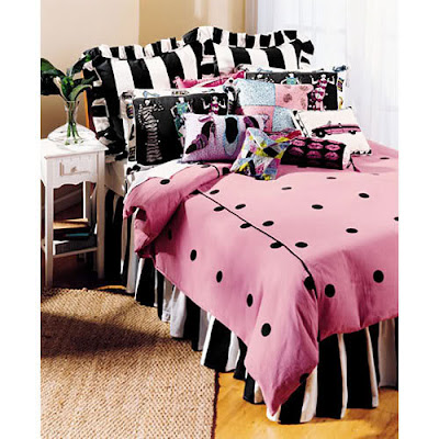 Elegant STRIPES TEEN BEDDING TO SWOON OVER! Black And White Polka Dot Bedding Set  Comforter GO HERE FOR MORE! A Funky, High Contrast Black, White And Hot