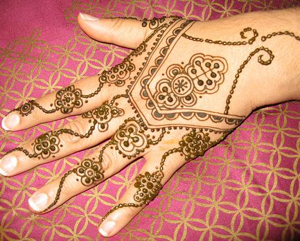 black henna tattoo. Photos of lack henna. hands.