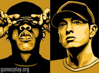 two tone portraits of jay z and eminem