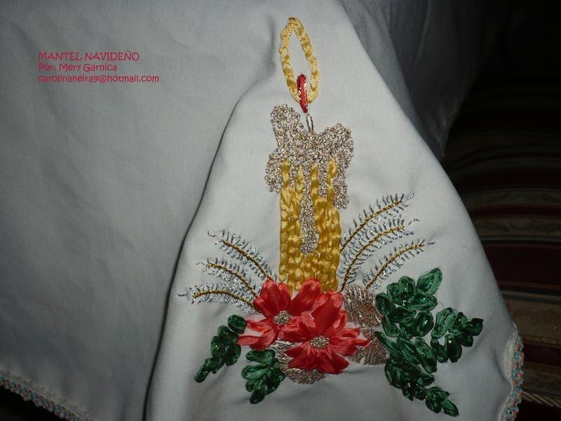 Bonitas creaciones manteles navide os bordados en cinta - Manteles de mesa bordados ...