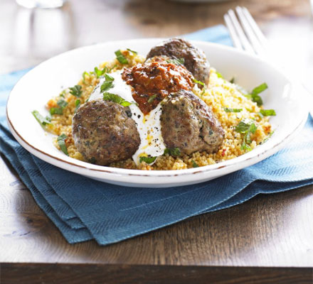 Moroccan lamb meatballs with harissa & couscous recipe