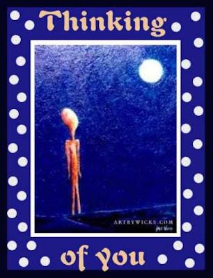 Desenho Pensando em Você, onde um boneco olha para a lua