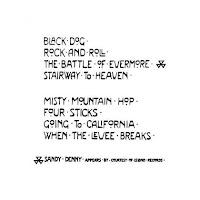 lista das 8 músicas do disco Led Zeppelin IV mais o símbolo da cantora convidada Sandy Denny