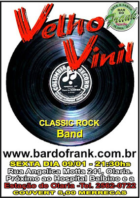 Cartaz do show das bandas Velho Vinil e Membranas no Bar do Frank