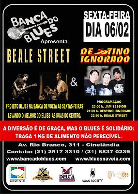 Cartaz de eventos na Banca de Blues