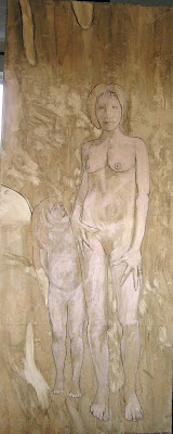 under-painting of women and child