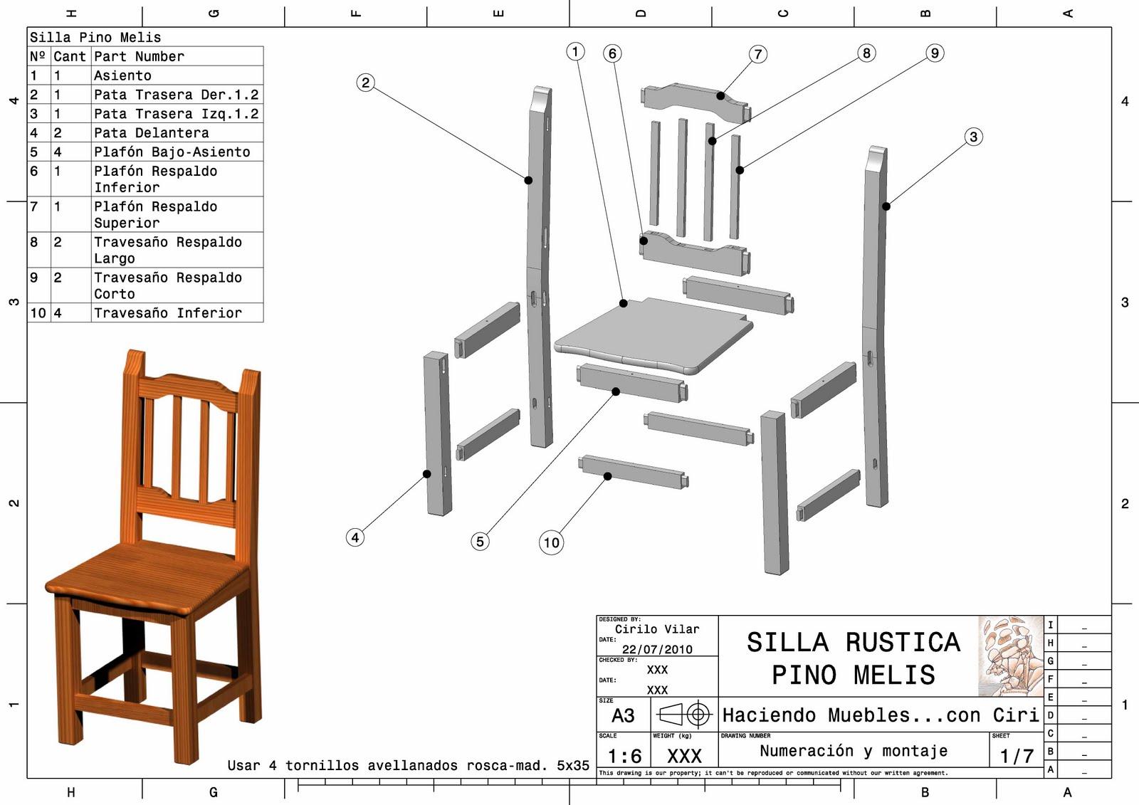 Haciendo muebles silla rustica for Muebles de cocina planos pdf