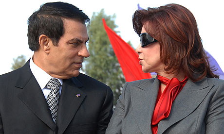 Tunisia's president Zine Ben Ali and his wife Leila.