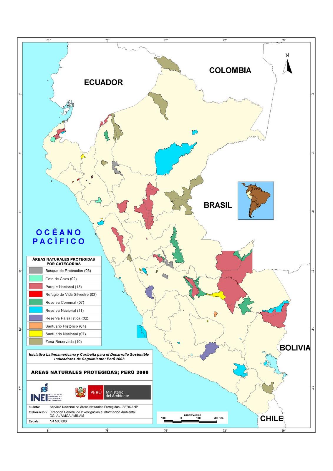 Mapa de la Areas Naturales Protegidas en Peru