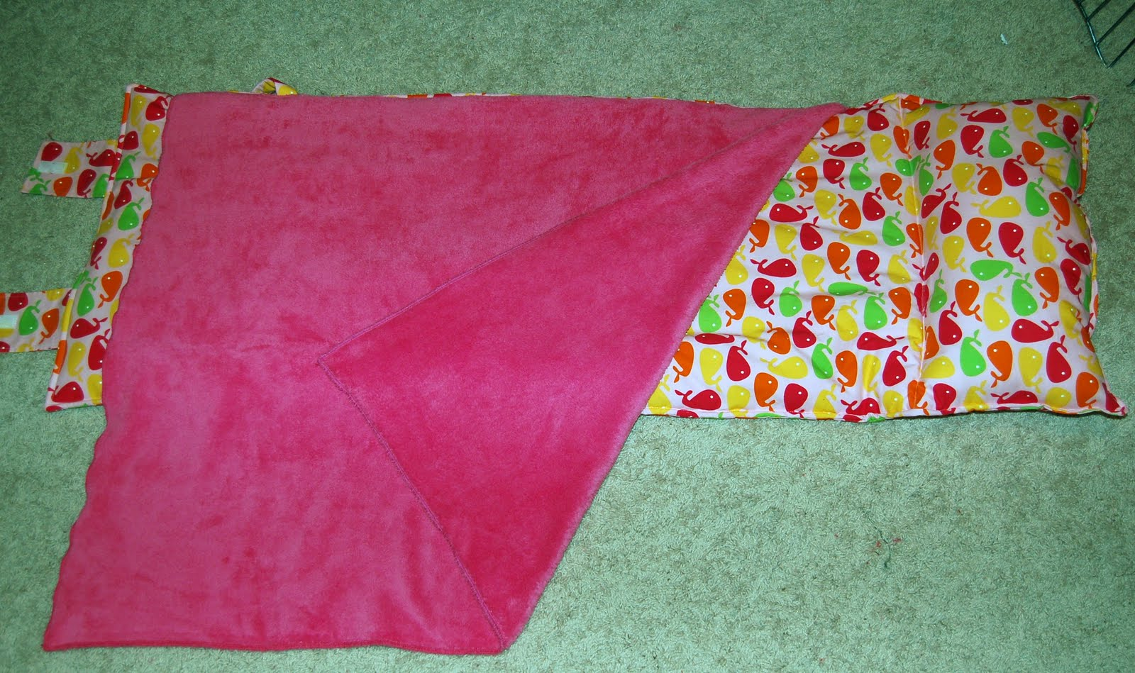 ... pink background with raspberry, lime green, yellow, . (pink whales nm