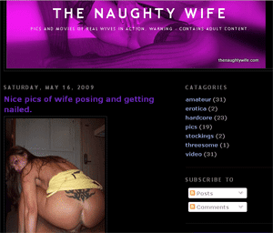 Screenshot of The Naughty Wife blog